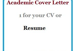 Academic Cover Letter 1 for your CV or Resume
