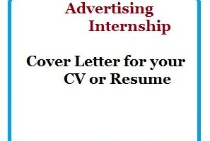 Advertising Internship Cover Letter for your CV or Resume