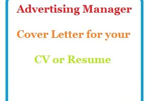 Advertising Manager Cover Letter for your CV or Resume