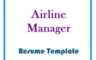 Airline manager resume Template