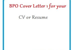 BPO Cover Letter 1 for your CV or Resume