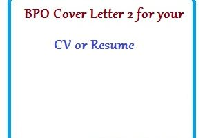 BPO Cover Letter 2 for your CV or Resume