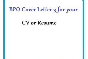 BPO Cover Letter 3 for your CV or Resume