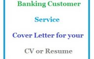Banking Customer Service Cover Letter for your CV or Resume