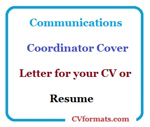 Communications Coordinator Cover Letter for your CV or Resume ...
