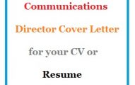 Communications Director Cover Letter for your CV or Resume