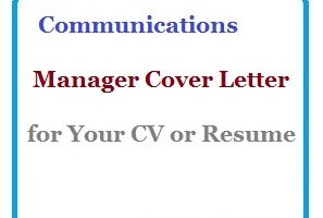 Communications Manager Cover Letter for Your CV or Resume