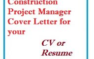 Construction Project Manager Cover Letter for your CV or Resume