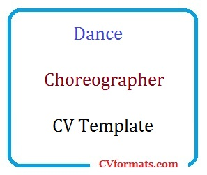Dance Choreographer CV Template