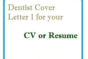 Dentist Cover Letter 1 for your CV or Resume