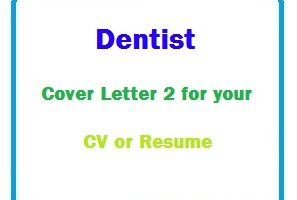 Dentist Cover Letter 2 for your CV or Resume