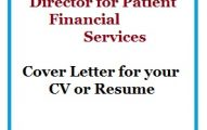 Director for Patient Financial Services Cover Letter for your CV or Resume