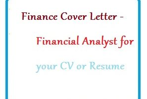 Finance Cover Letter - Financial Analyst for your CV or Resume