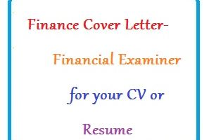 Finance Cover Letter - Financial Examiner for your CV or Resume