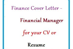Finance Cover Letter - Financial Manager for your CV or Resume
