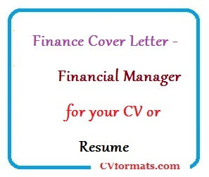 Finance Cover Letter - Financial Manager for your CV or ...