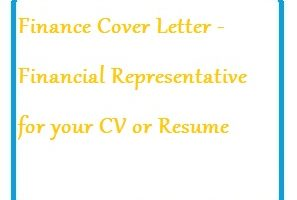 Finance Cover Letter - Financial Representative for your CV or Resume