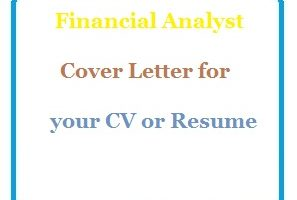 Financial Analyst Cover Letter for your CV or Resume