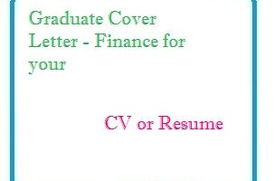 Graduate Cover Letter - Finance for your CV or Resume