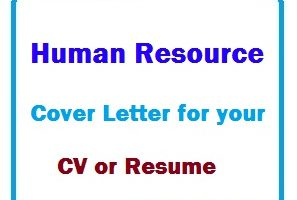 Human Resource Cover Letter for your CV or Resume
