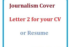 Journalism Cover Letter 2 for your CV or Resume