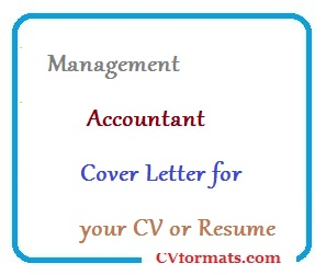 Management Accountant Cover Letter For Your CV Or Resume
