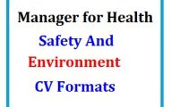 Manager for Health Safety and Environment CV Formats