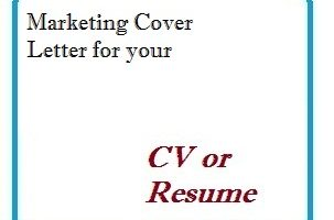 Marketing Cover Letter for your CV or Resume