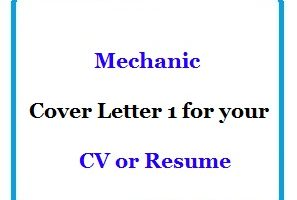 Mechanic Cover Letter 1 for your CV or Resume