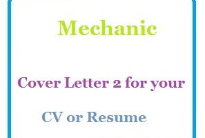Mechanic Cover Letter 2 for your CV or Resume