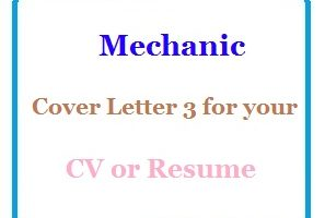 Mechanic Cover Letter 3 for your CV or Resume