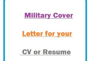Military Cover Letter for your CV or Resume