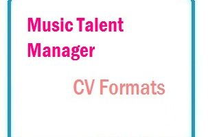 Music Talent Manager CV Formats