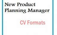 New Product Planning Manager CV Formats