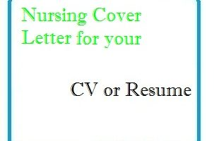 Nursing Cover Letter for your CV or Resume