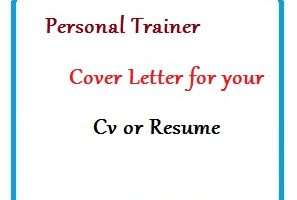 Personal Trainer Cover Letter for your Cv or Resume