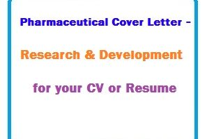 Pharmaceutical Cover Letter - Research & Development for your CV or Resume