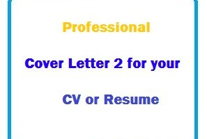 Professional Cover Letter 2 for your CV or Resume