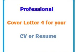 Professional Cover Letter 4 for your CV or Resume