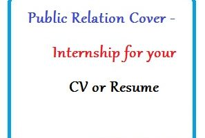 Public Relation Cover - Internship for your CV or Resume