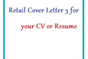 Retail Cover Letter 3 for your CV or Resume
