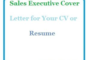 Sales Executive Cover Letter for Your CV or Resume