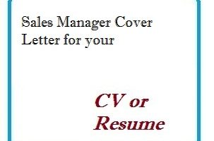 Sales Manager Cover Letter for your CV or Resume
