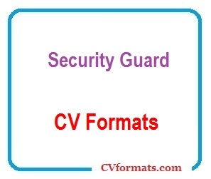 Security Guard CV Formats