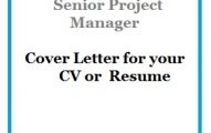 Senior Project Manager Cover Letter for your CV or Resume