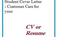 Student Cover Letter - Customer Care for your CV or Resume