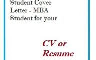 Student Cover Letter - MBA Student for your CV or Resume