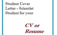 Student Cover Letter - Scientist Student for your CV or Resume