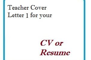 Teacher Cover Letter 1 for your CV or Resume