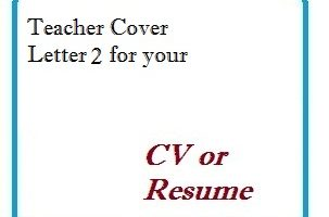 Teacher Cover Letter 2 for your CV or Resume